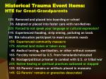 historical trauma event items hte for great grandparents