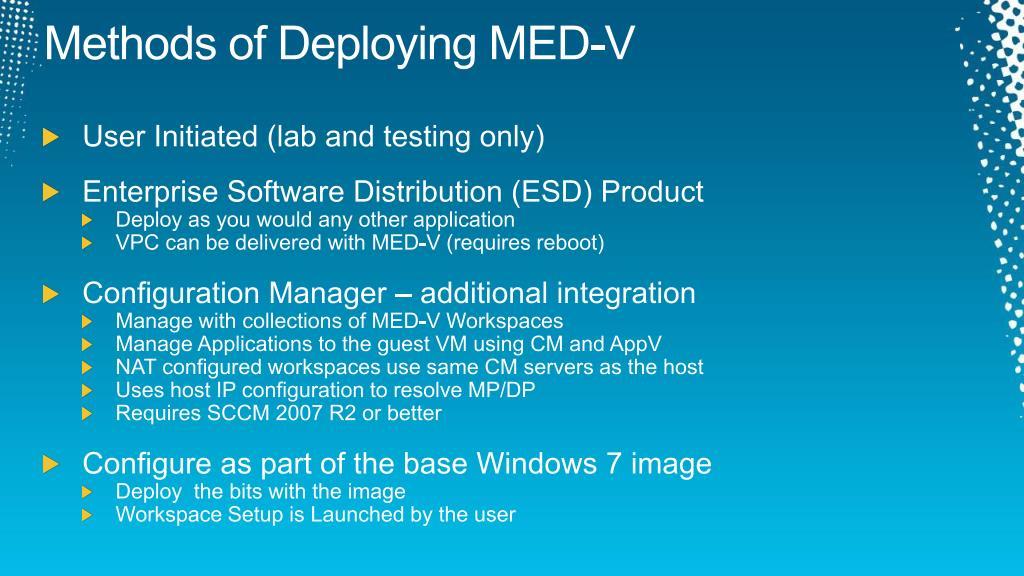 Methods of Deploying MED-V