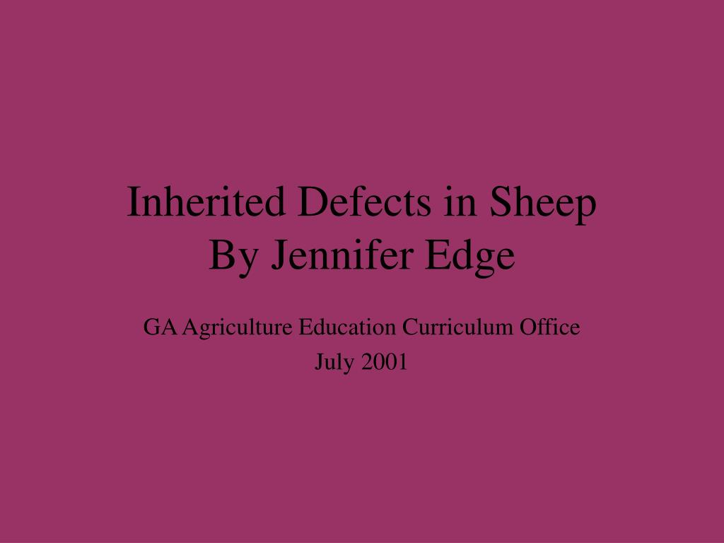 Inherited Defects in Sheep