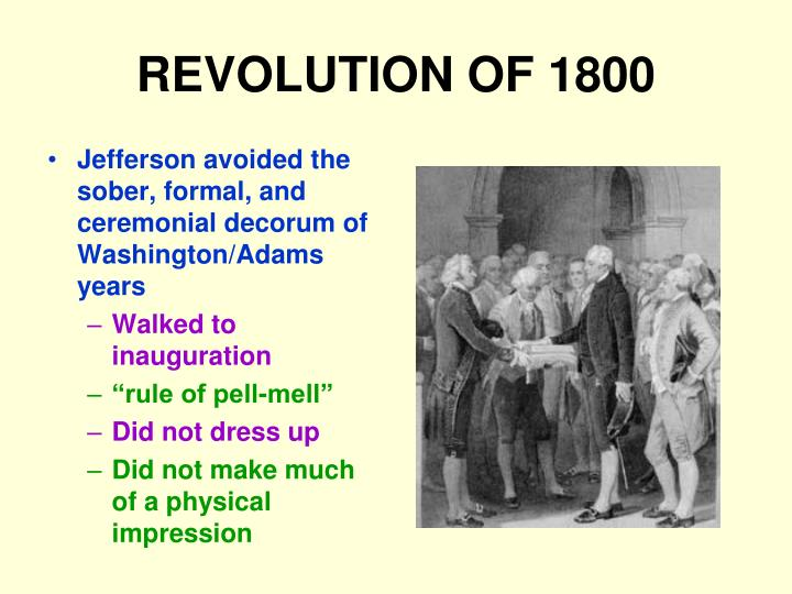 revolution of 1800 essay In what is sometimes referred to as the revolution of 1800, vice president thomas jefferson of the democratic-republican party defeated incumbent president john adams of the federalist party the election was a realigning election that ushered in a generation of democratic-republican rule.