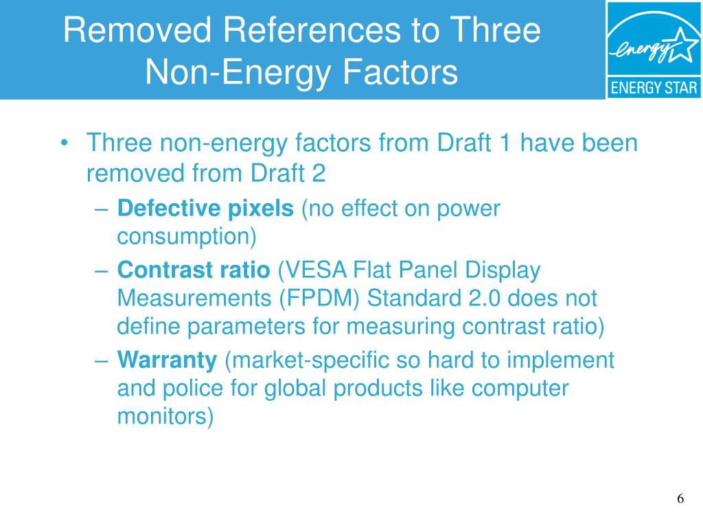 Removed References to Three Non-Energy Factors