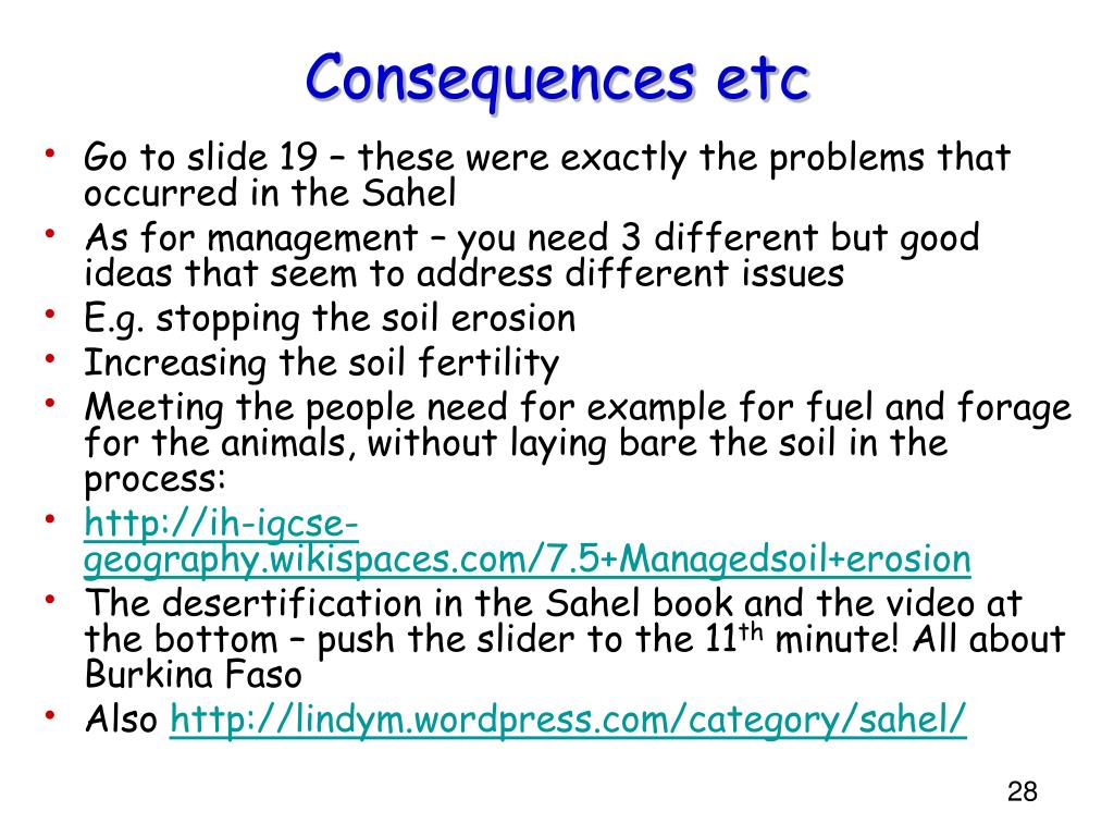 Consequences etc