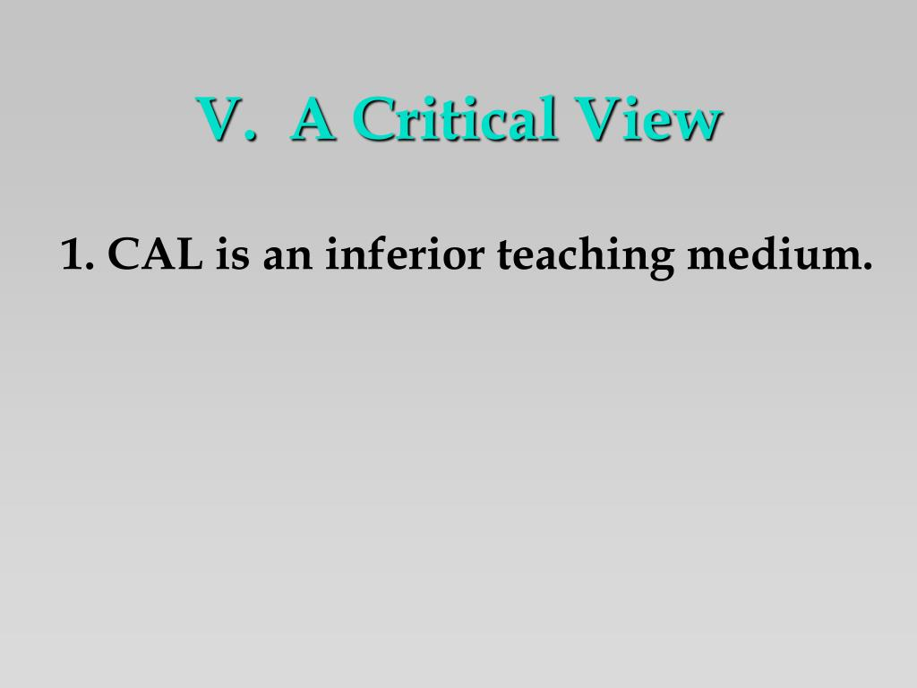 V.  A Critical View