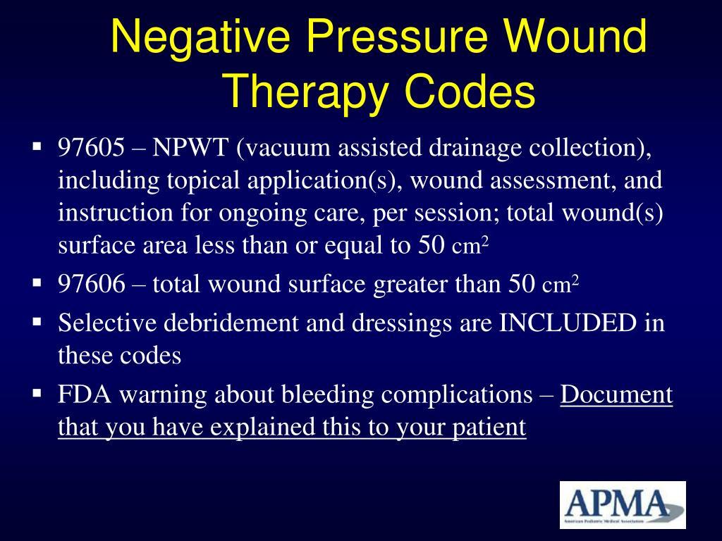 Negative Pressure Wound Therapy Codes