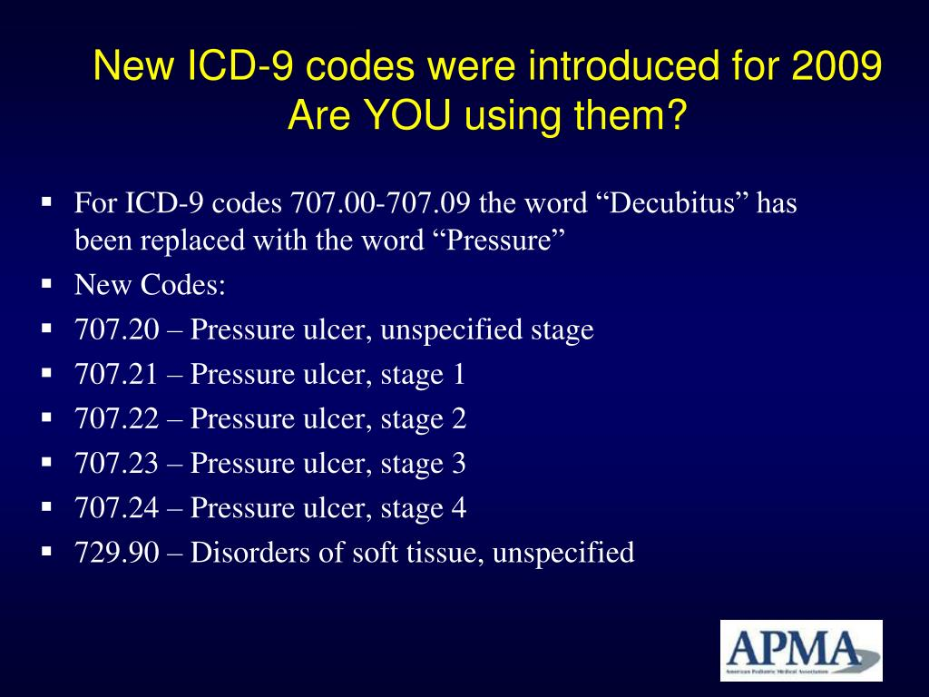 New ICD-9 codes were introduced for 2009
