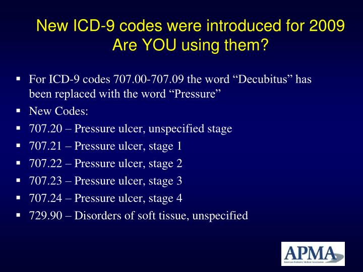 New icd 9 codes were introduced for 2009 are you using them