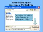 browse dialog for selecting a control file