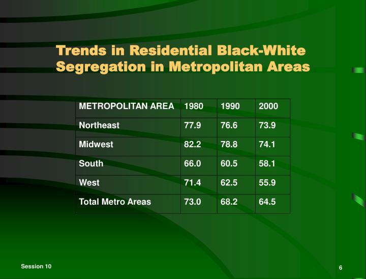 Trends in Residential Black-White Segregation in Metropolitan Areas