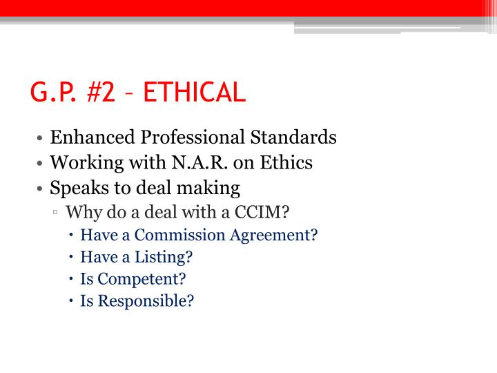 G.P. #2 – ETHICAL