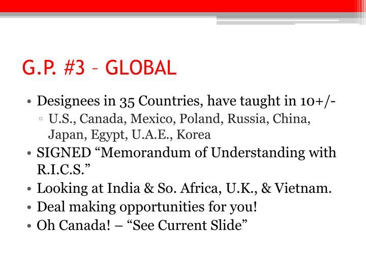 G.P. #3 – GLOBAL
