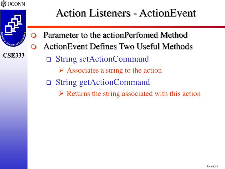 Action Listeners - ActionEvent