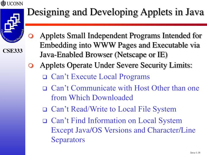 Designing and Developing Applets in Java