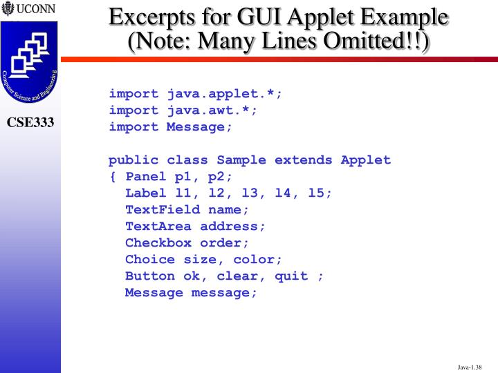 Excerpts for GUI Applet Example