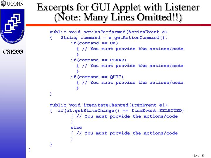 Excerpts for GUI Applet with Listener