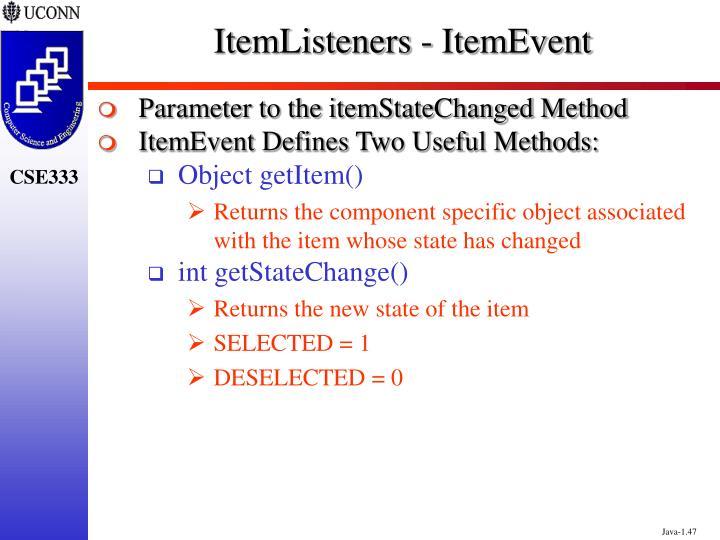 ItemListeners - ItemEvent