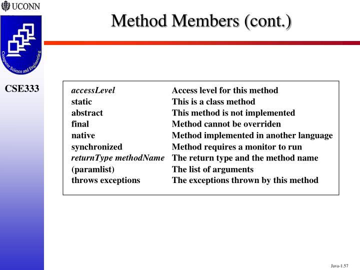 Method Members (cont.)