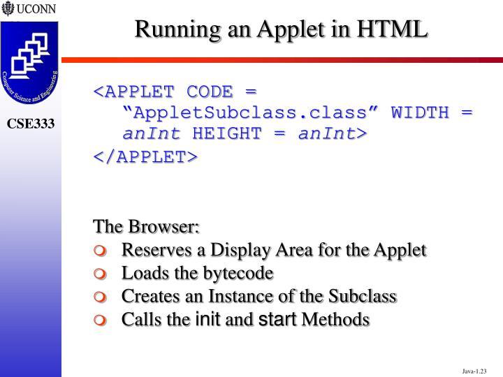 Running an Applet in HTML
