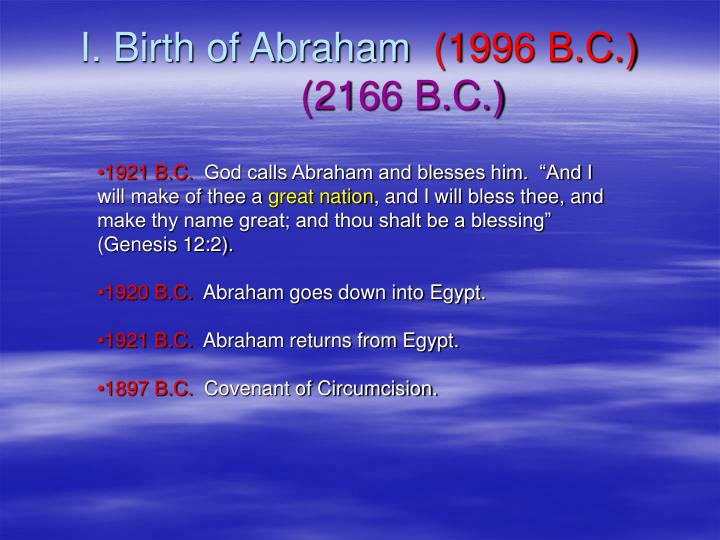 I. Birth of Abraham
