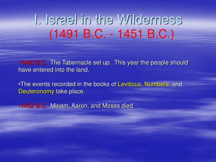 I. Israel in the Wilderness