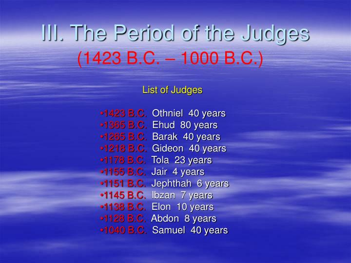 III. The Period of the Judges