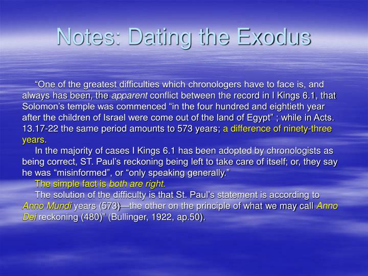 Notes: Dating the Exodus