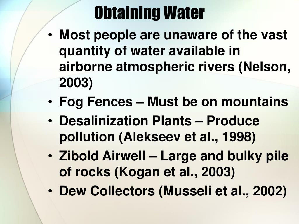 Obtaining Water