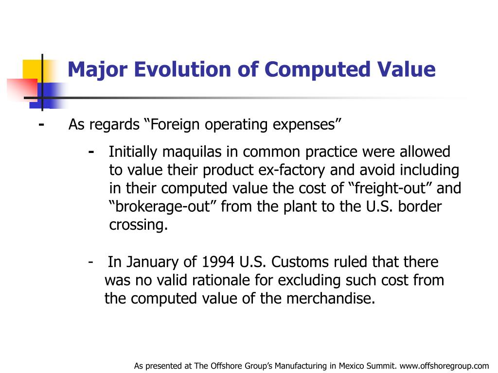 Major Evolution of Computed Value