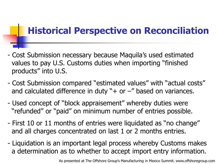 Historical Perspective on Reconciliation