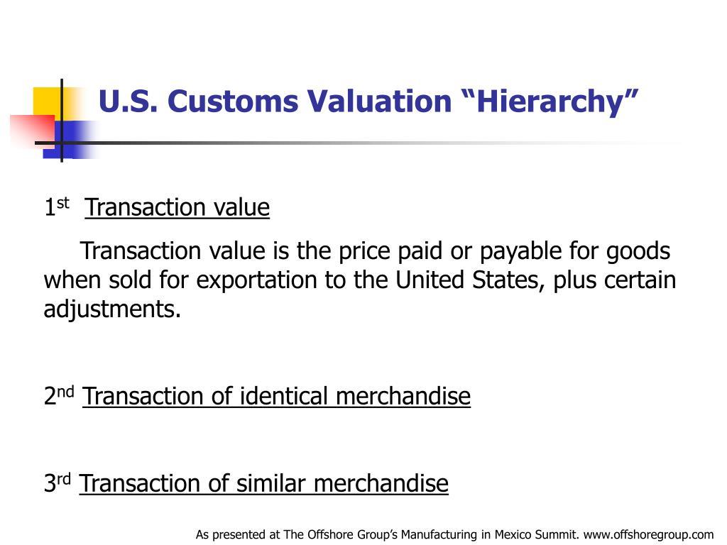 """U.S. Customs Valuation """"Hierarchy"""""""