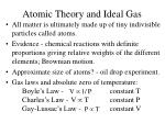 atomic theory and ideal gas