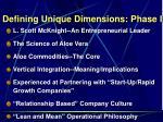 defining unique dimensions phase i