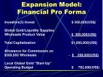 expansion model financial pro forma