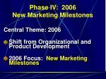 phase iv 2006 new marketing milestones