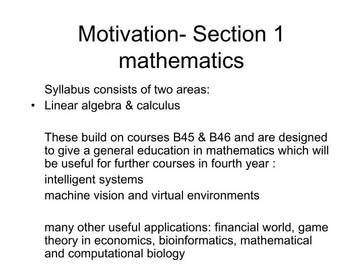 Motivation- Section 1 mathematics