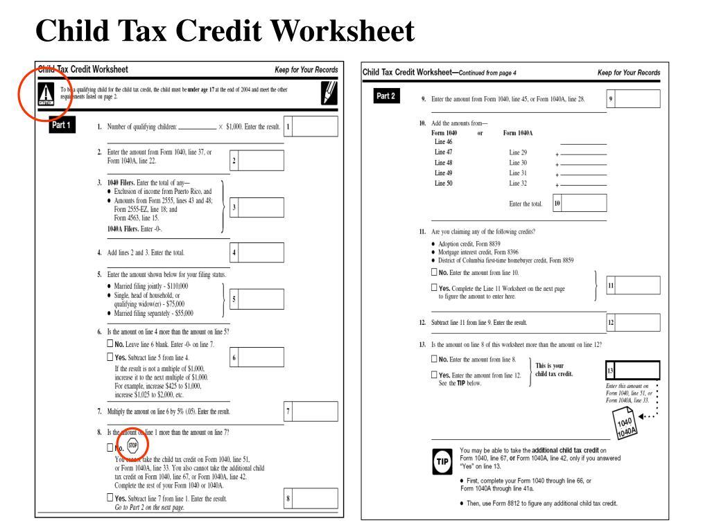 Child Tax Credit Worksheet