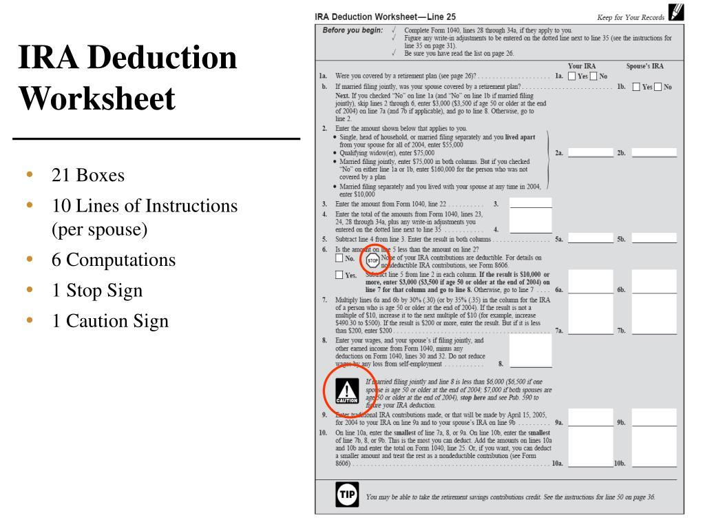 IRA Deduction Worksheet