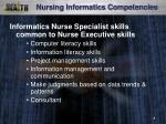 nursing informatics competencies