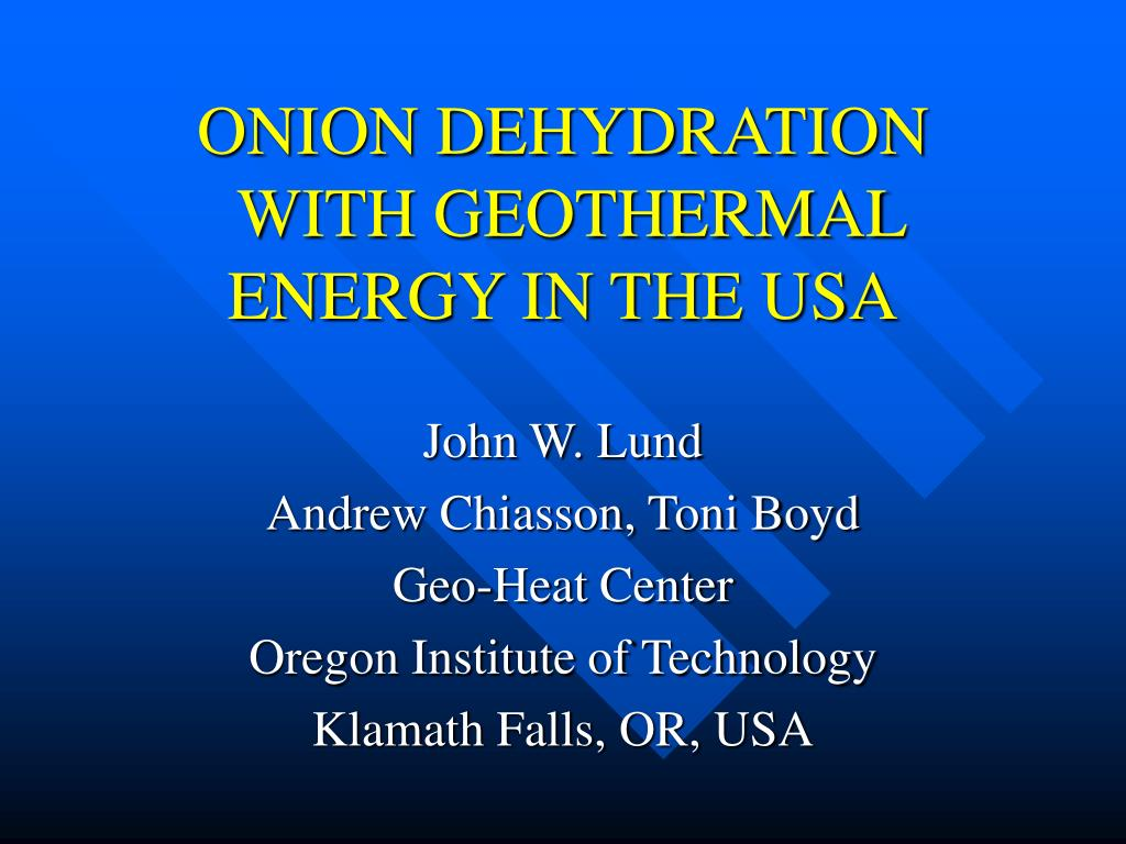 onion dehydration with geothermal energy in the usa l.