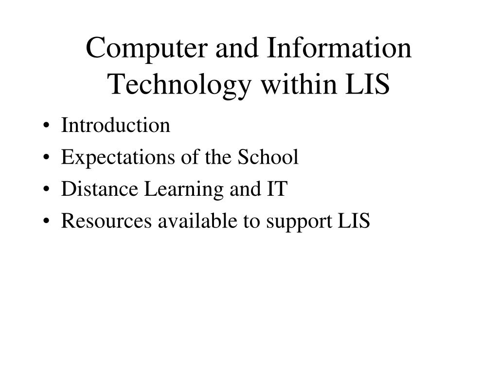 computer and information technology within lis l.