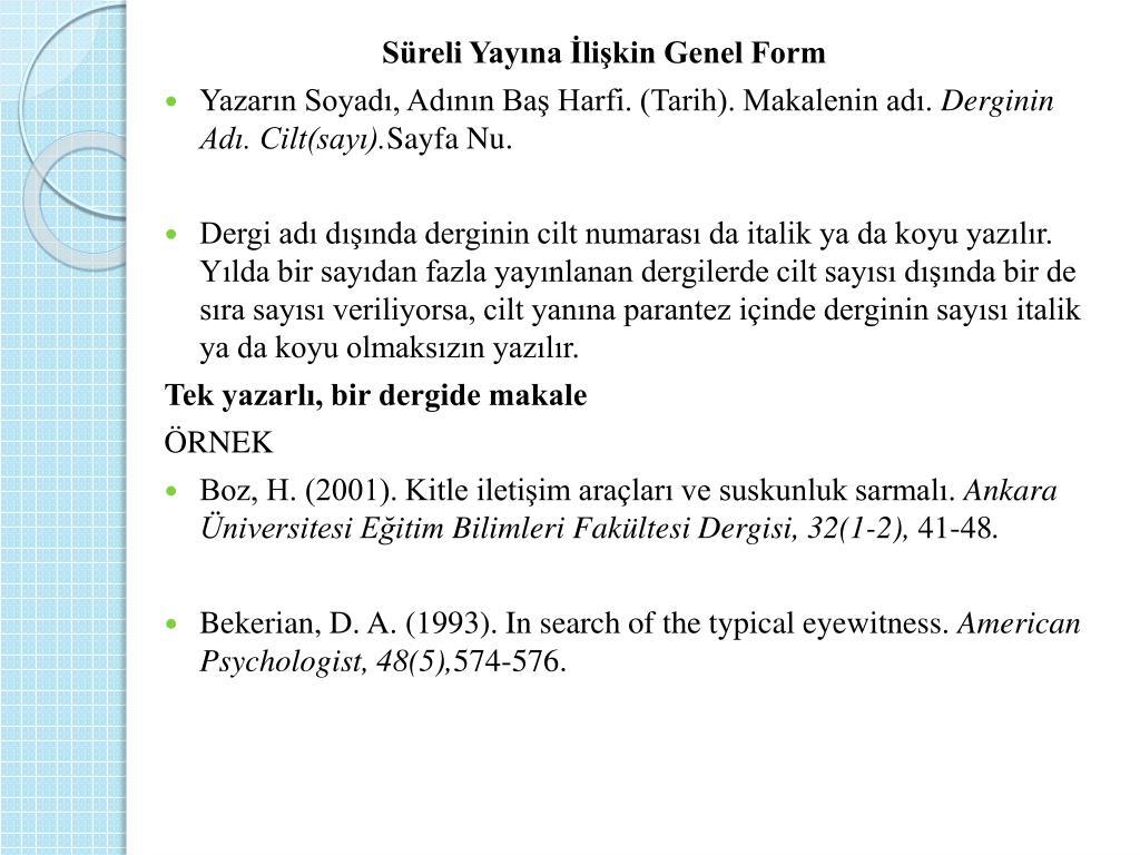 Ppt Apa Stili Tez Yazim Kurallari Powerpoint Presentation Free