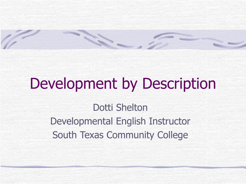 development by description