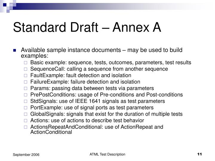 Standard Draft – Annex A