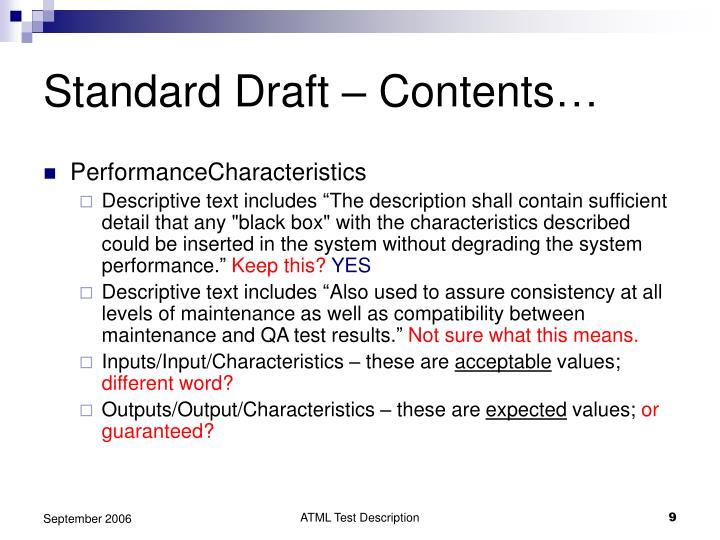 Standard Draft – Contents…