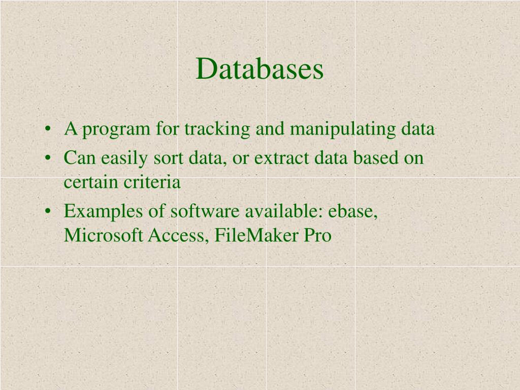 A program for tracking and manipulating data