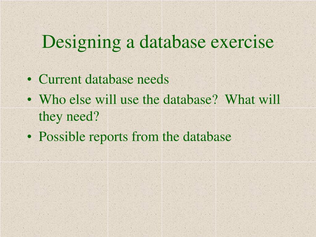 Designing a database exercise