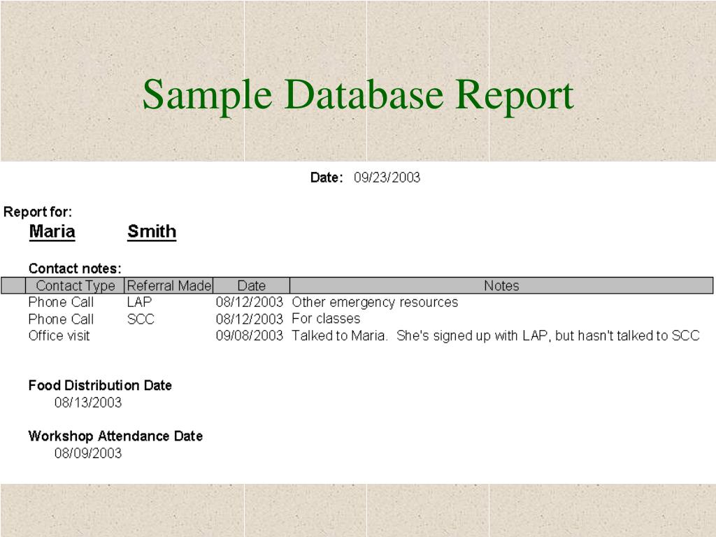 Sample Database Report