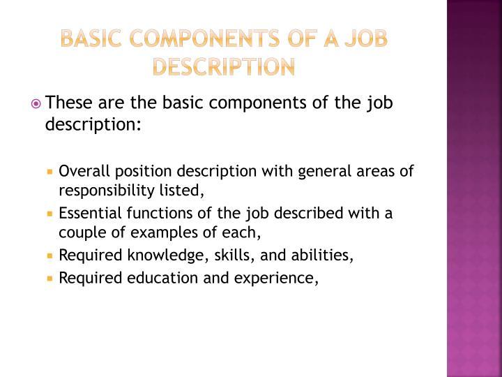 Basic Components of a job description