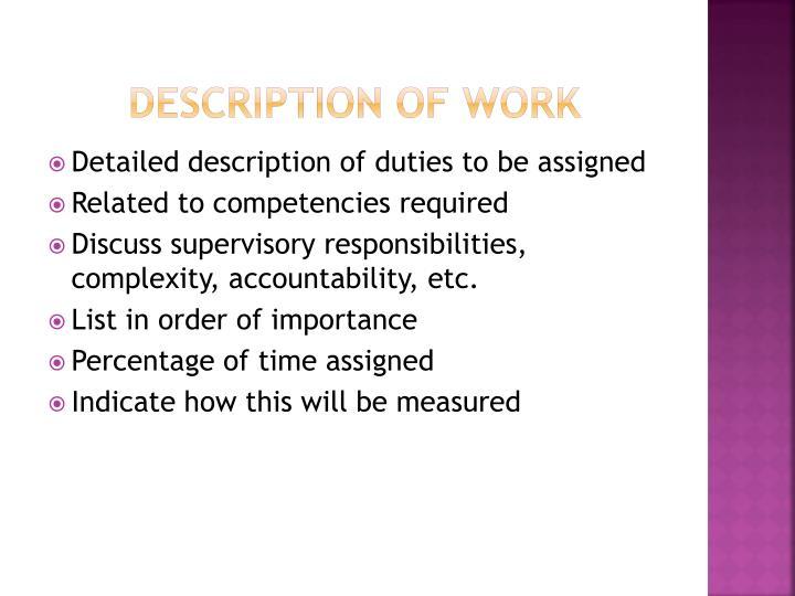 Description of work