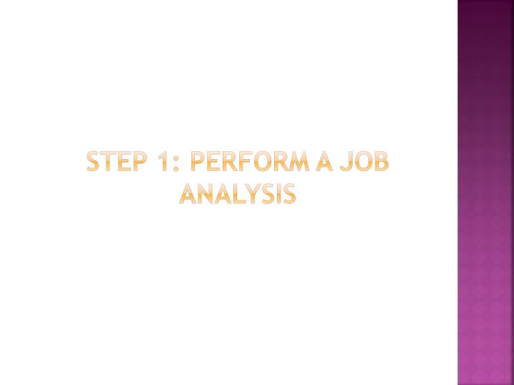 Step 1 perform a job analysis