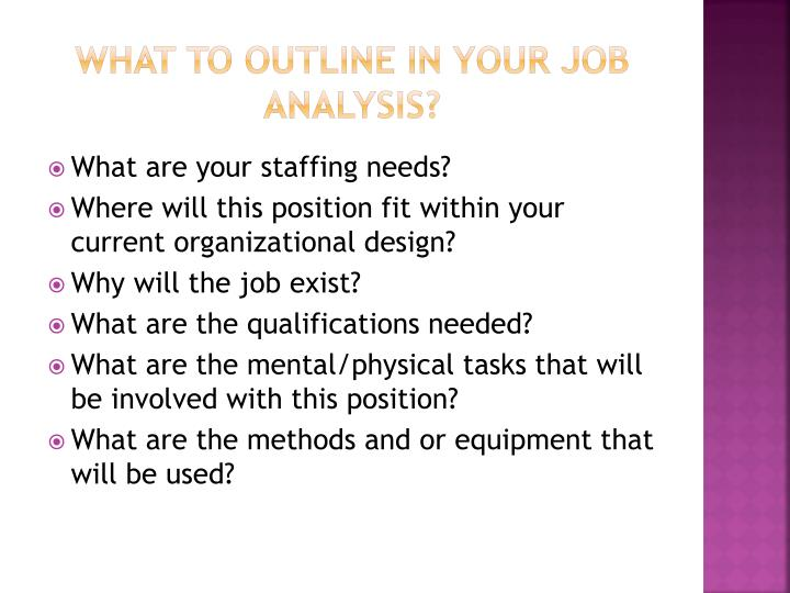 What to outline in your Job analysis?